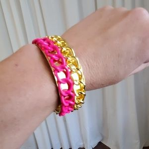 Gold Toned and Pink Bracelet